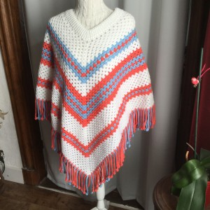 Poncho à franges taille adulte